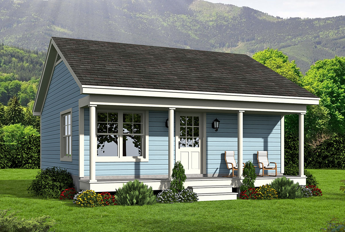 Tiny House Country Home - 68443vr Architectural Design