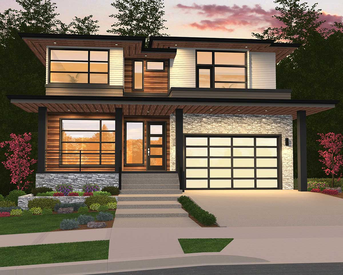 Modern Home Plan with 2 Master Suites  85148MS