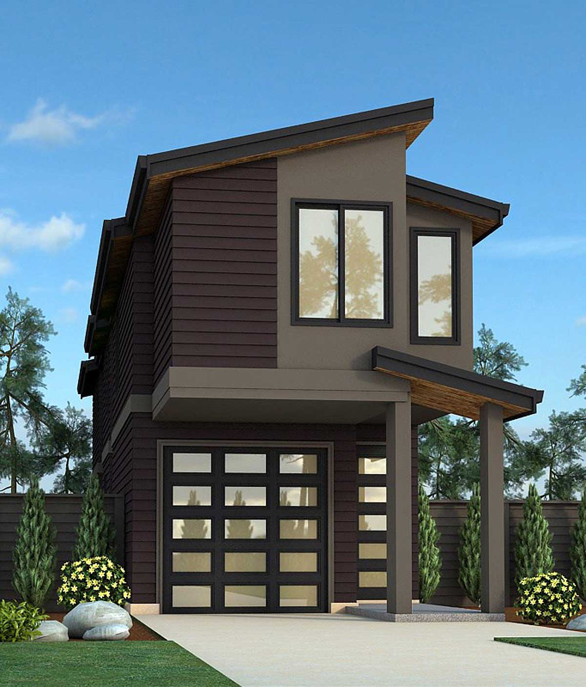 Narrow Lot Exclusive Contemporary House Plan - 85151ms