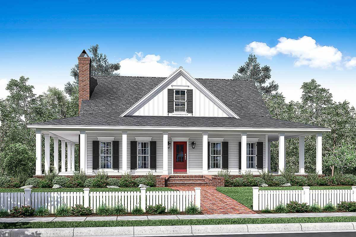 Country House Plans One Story Farmhouse