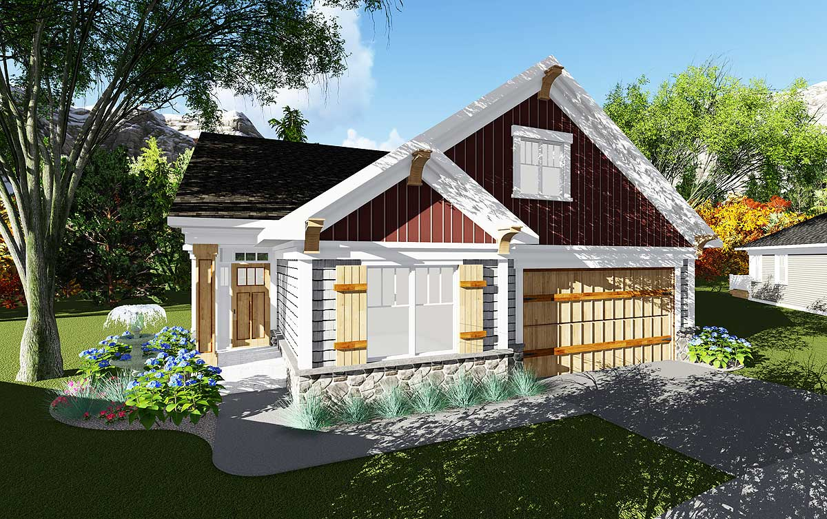 2 Bed Craftsman Cottage With Open Concept Floor Plan