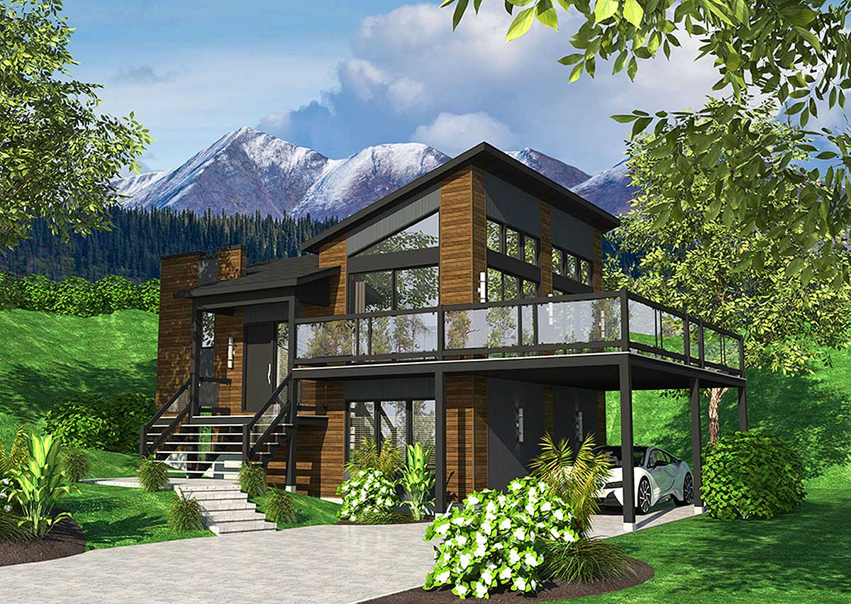 Exciting Contemporary House Plan - 90277pd Architectural