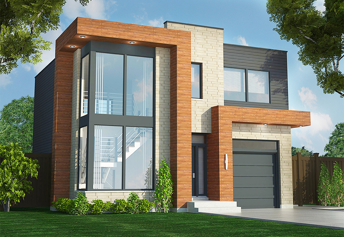 Contemporary Duplex - 90290pd Architectural Design