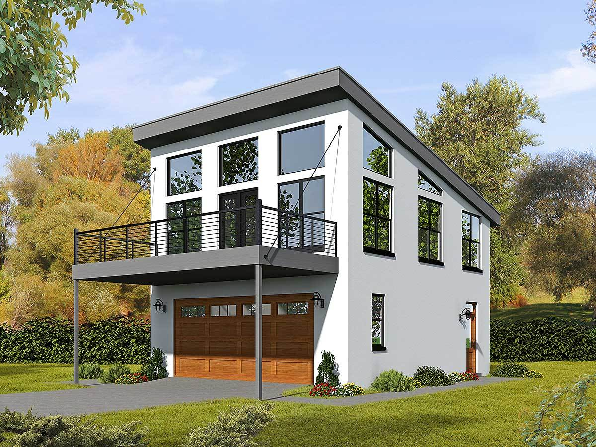 Modern Carriage House Plan With Sun Deck - 68461vr
