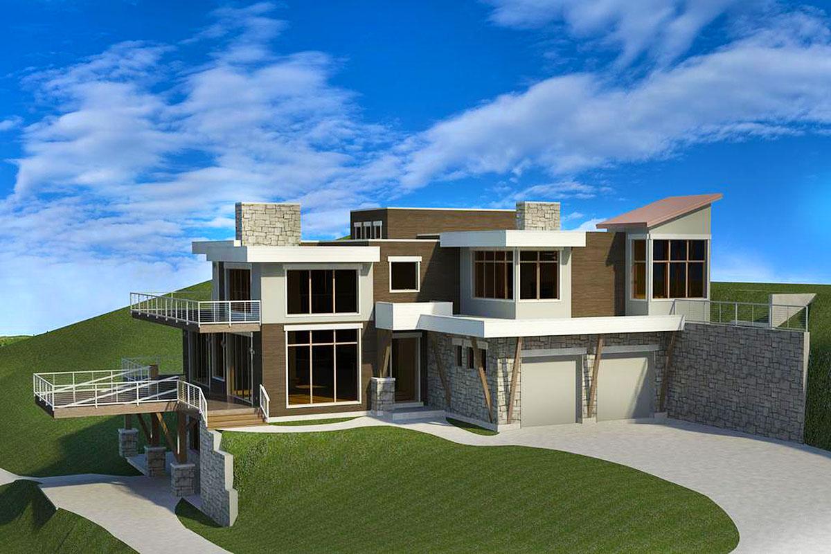 Modern House Plan Sloping Lot - 290025iy