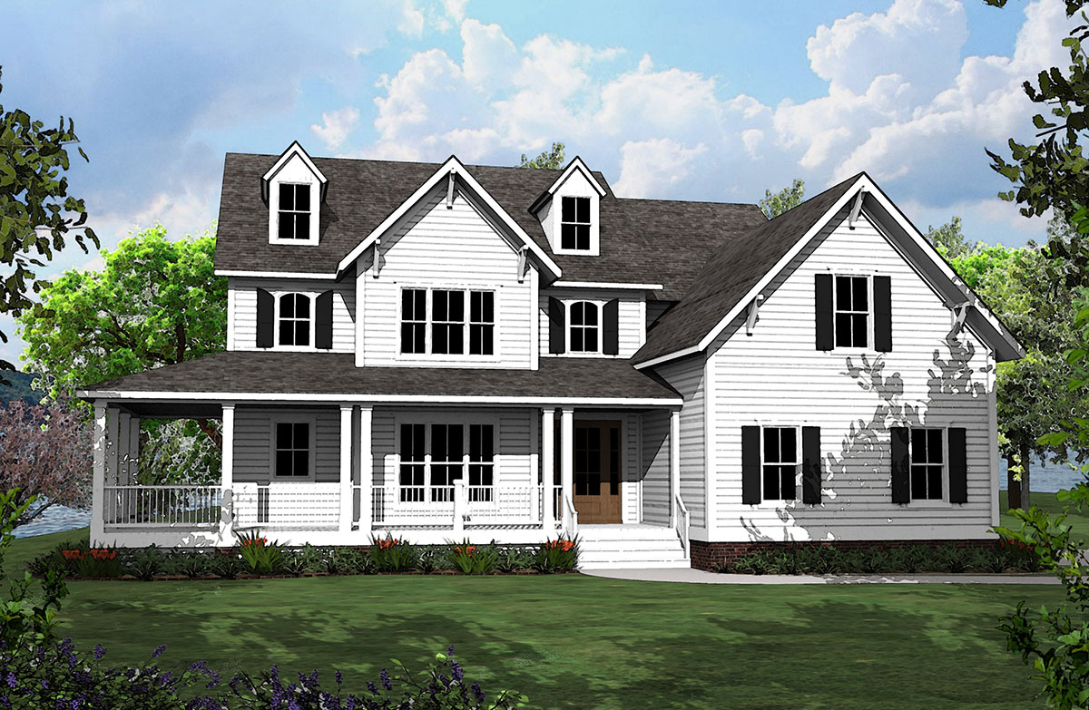 4 Bed Country House Plan With L Shaped Porch 500008vv
