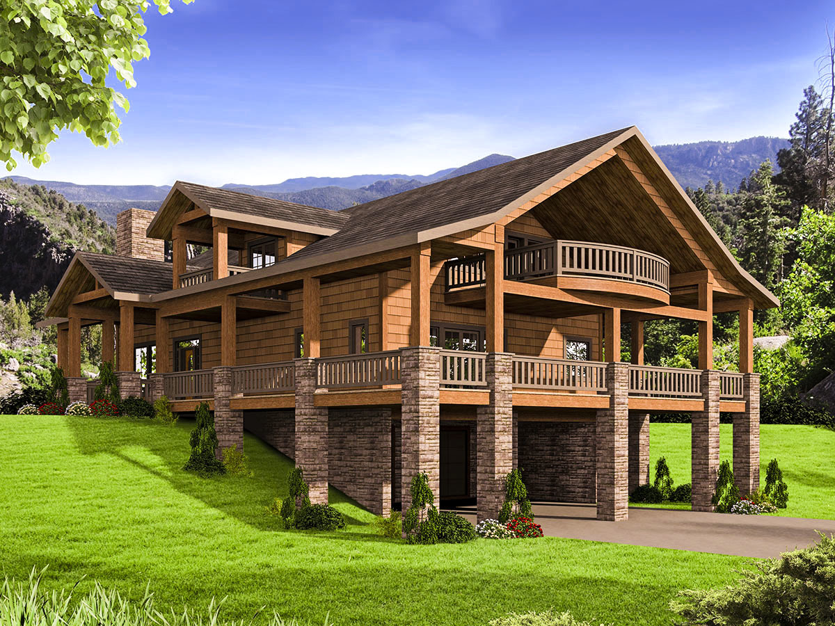 Mountain House Plan With Huge Wrap- Porch - 35544gh
