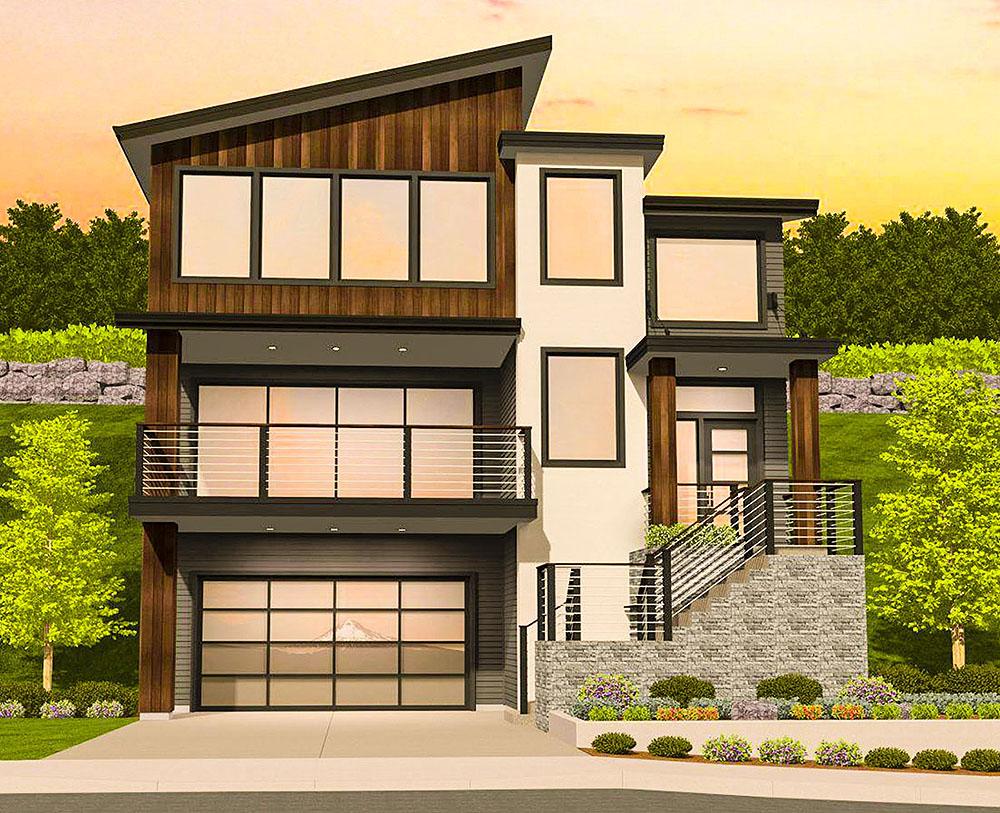 Modern House Plan Sloping Lot - 85184ms