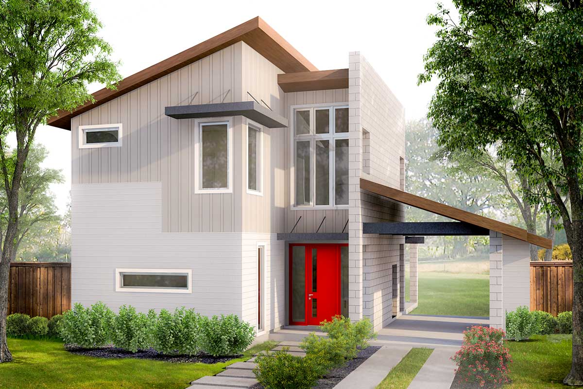 Modern House Plans with Porte Cochere