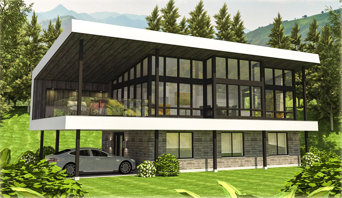 Master Down Modern Home Plan With Huge Outdoor Living Room