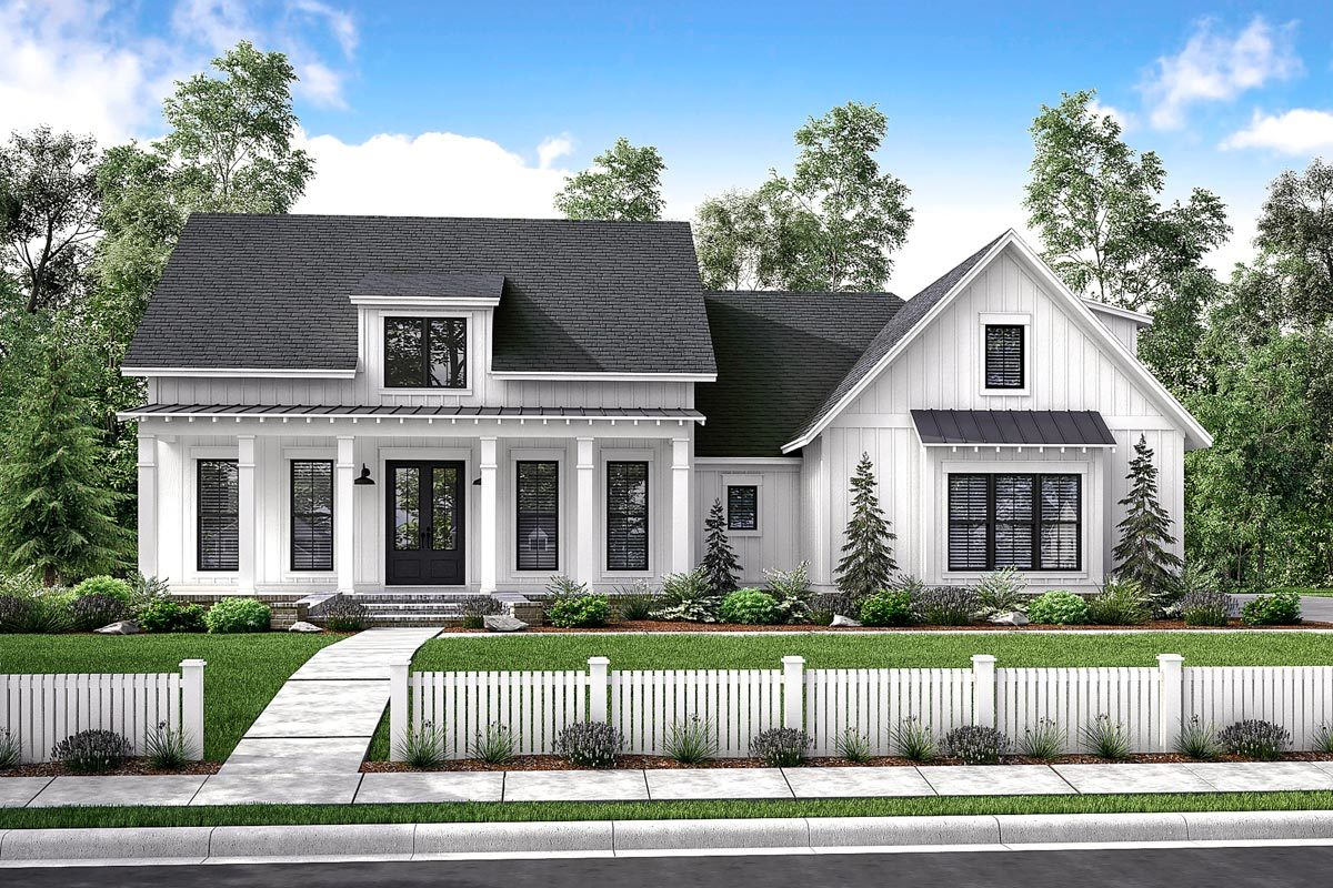 Mid-size Exclusive Modern Farmhouse Plan - 51766hz