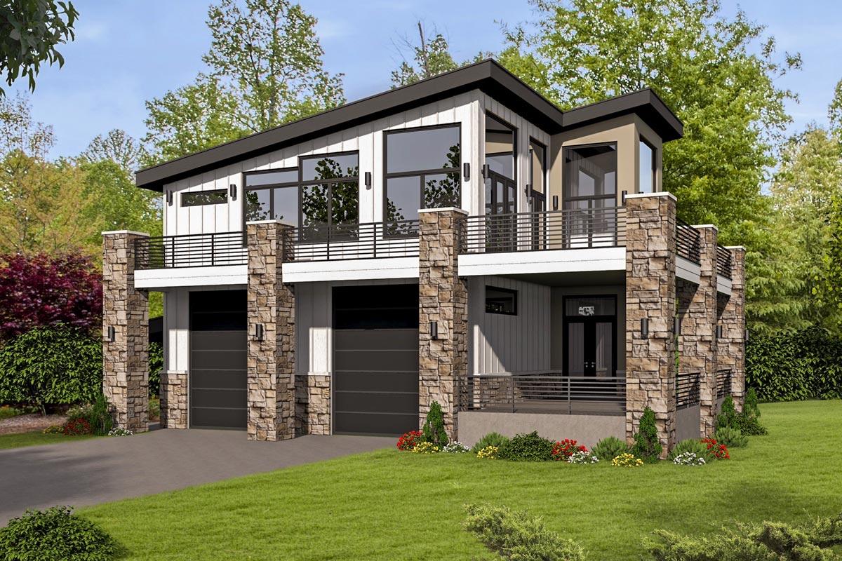 Unique Contemporary Home with RV Bays  68496VR
