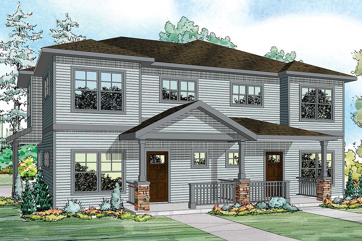 Large Country-style Duplex House Plan - 72900da