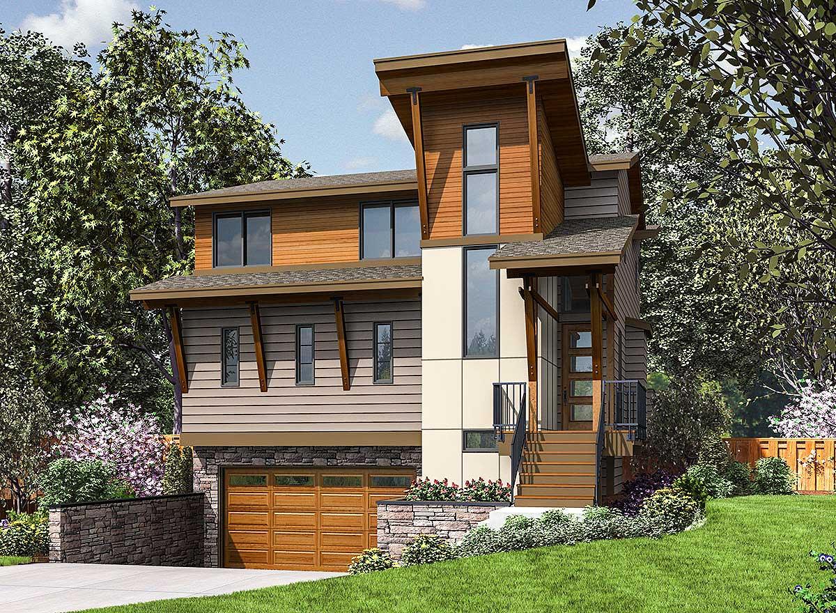 Three Story Modern House Plan Designed Narrow