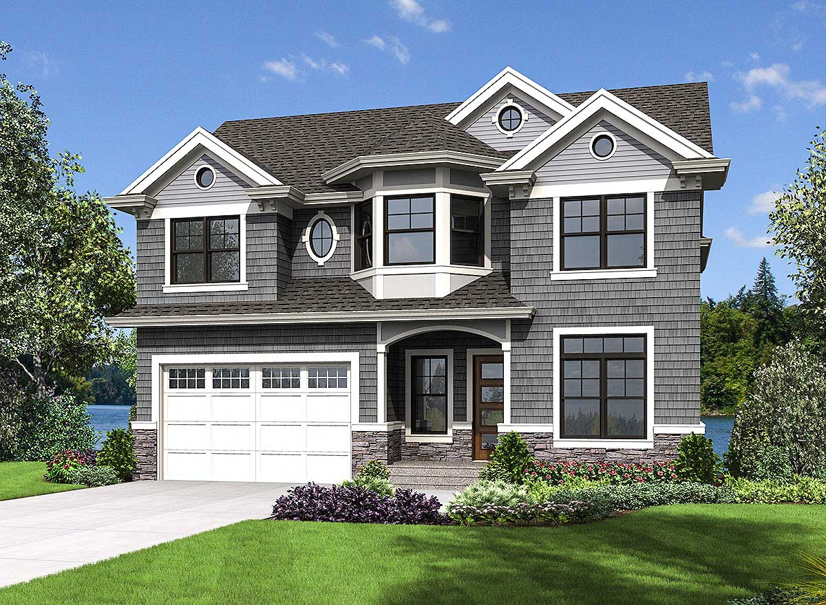Compact Shingle Style House Plan - 23700jd Architectural