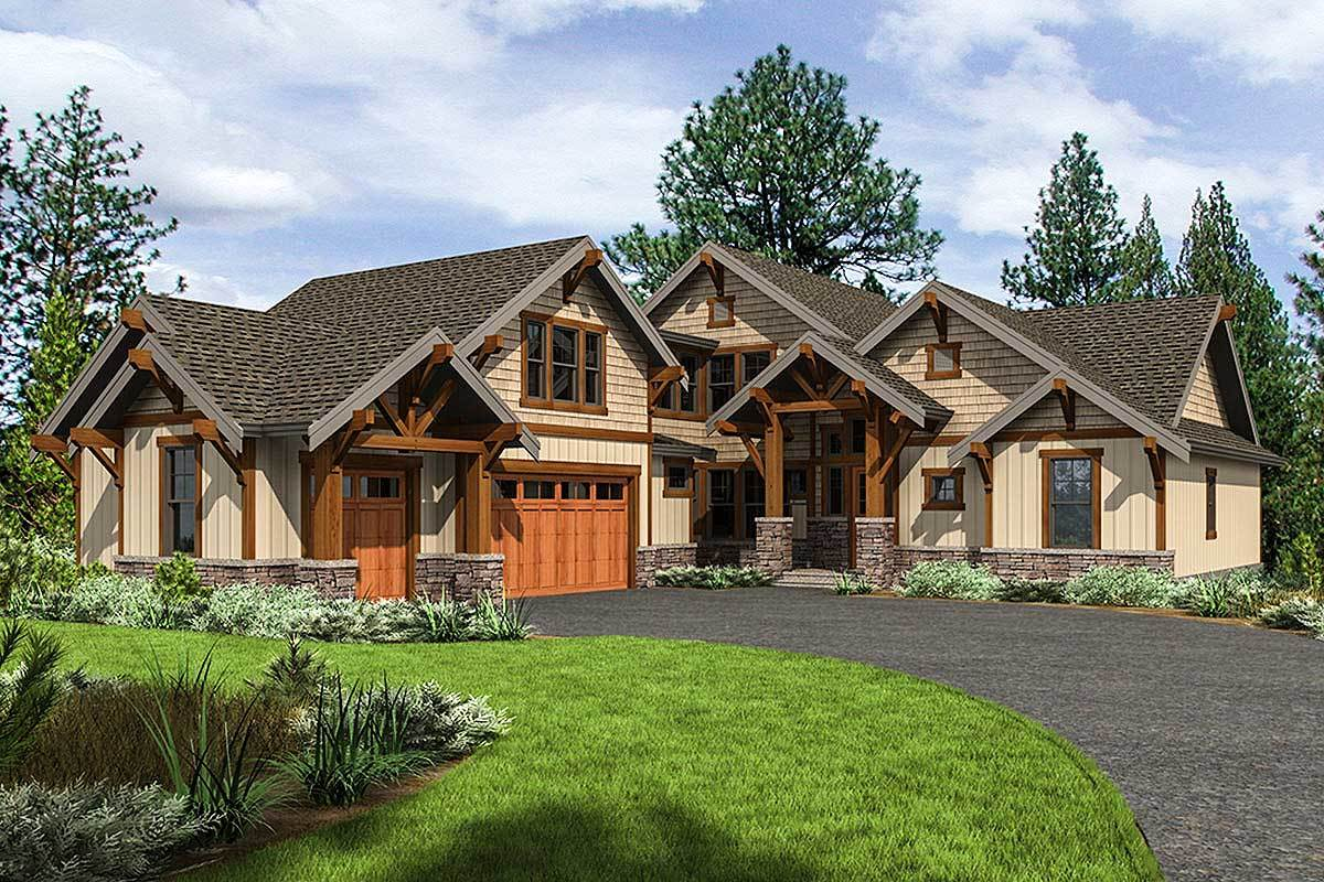 Mountain Craftsman Home Plan With 2 Upstairs Bedrooms