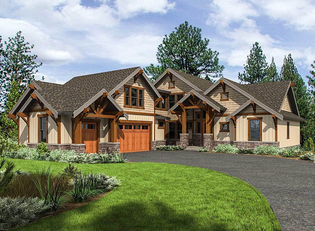 Mountain Craftsman House Plan with 3 Upstairs Bedrooms  23702JD  Architectural Designs  House