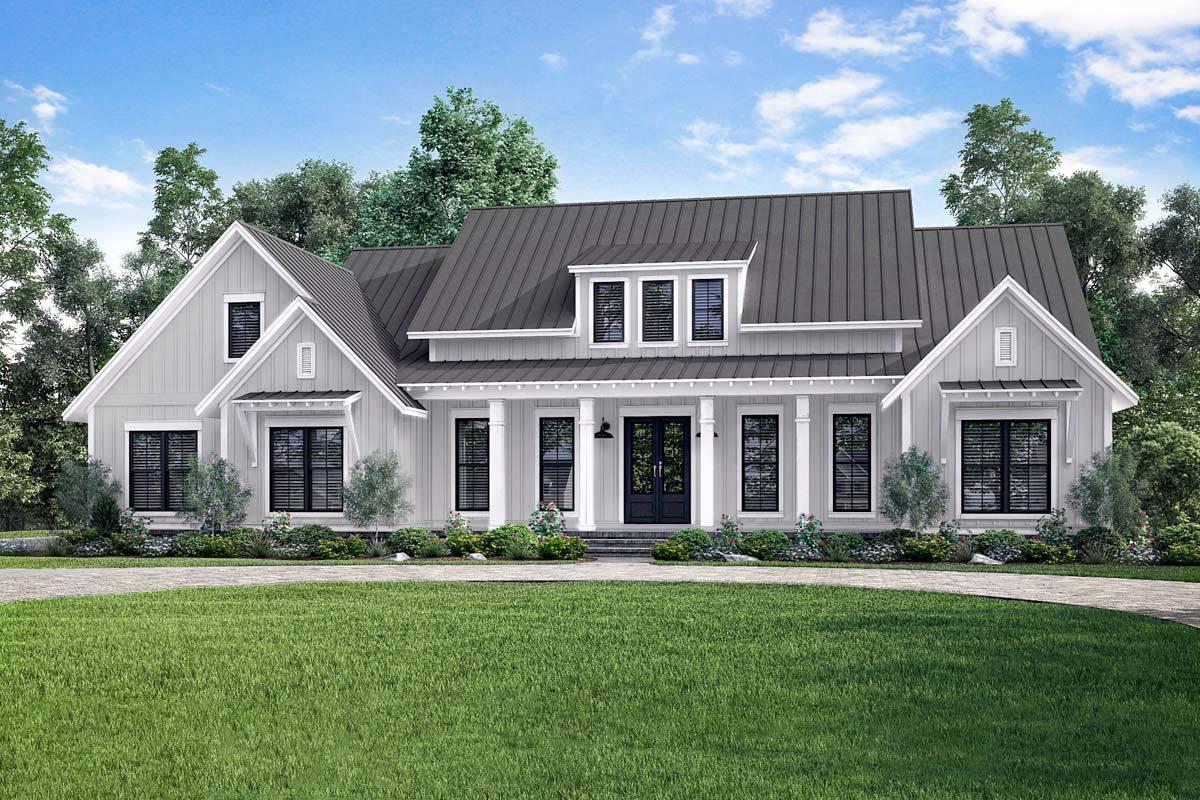 Farmhouse House Plans Open-Concept
