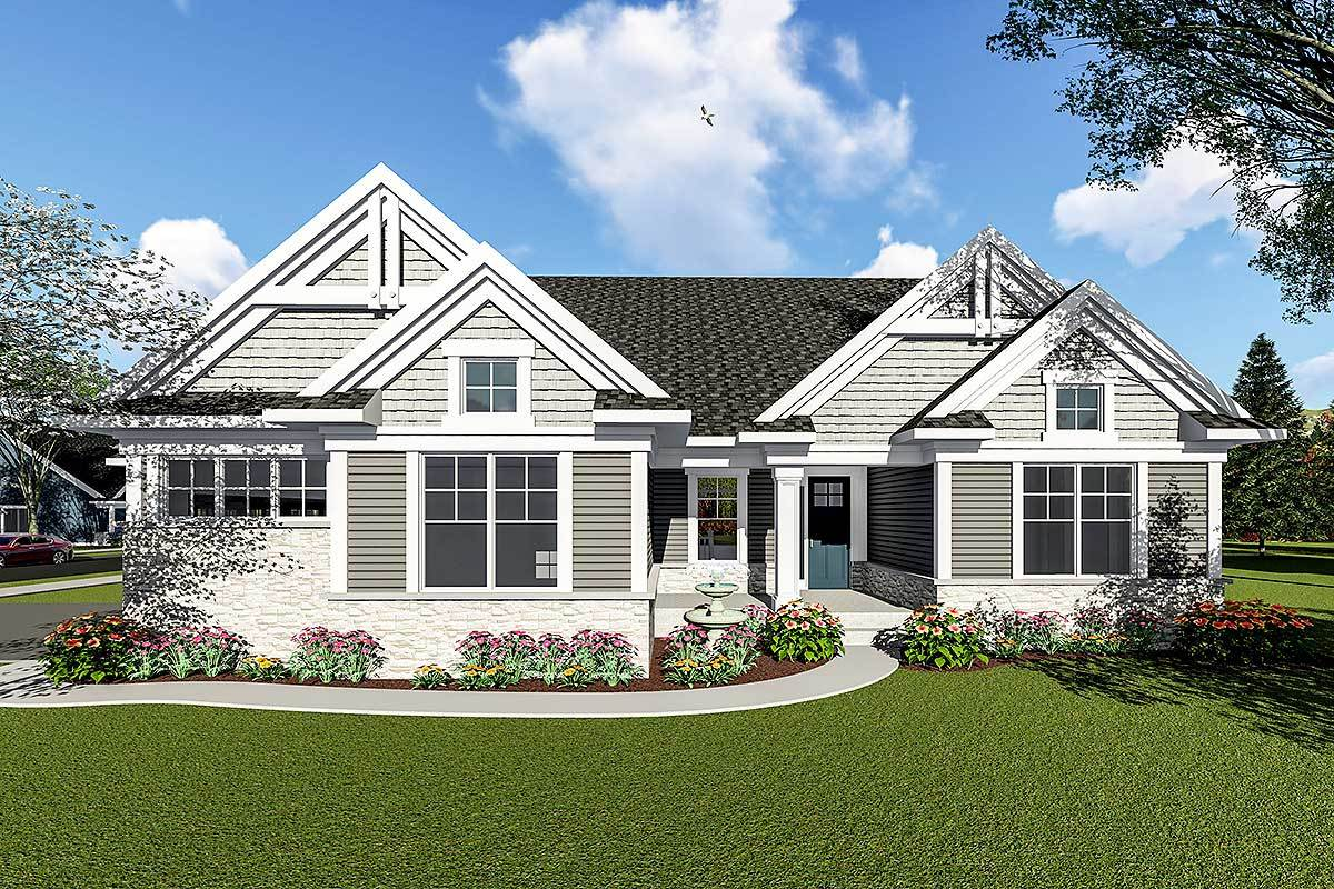 Two Bedroom Craftsman Ranch House Plan 890052ah
