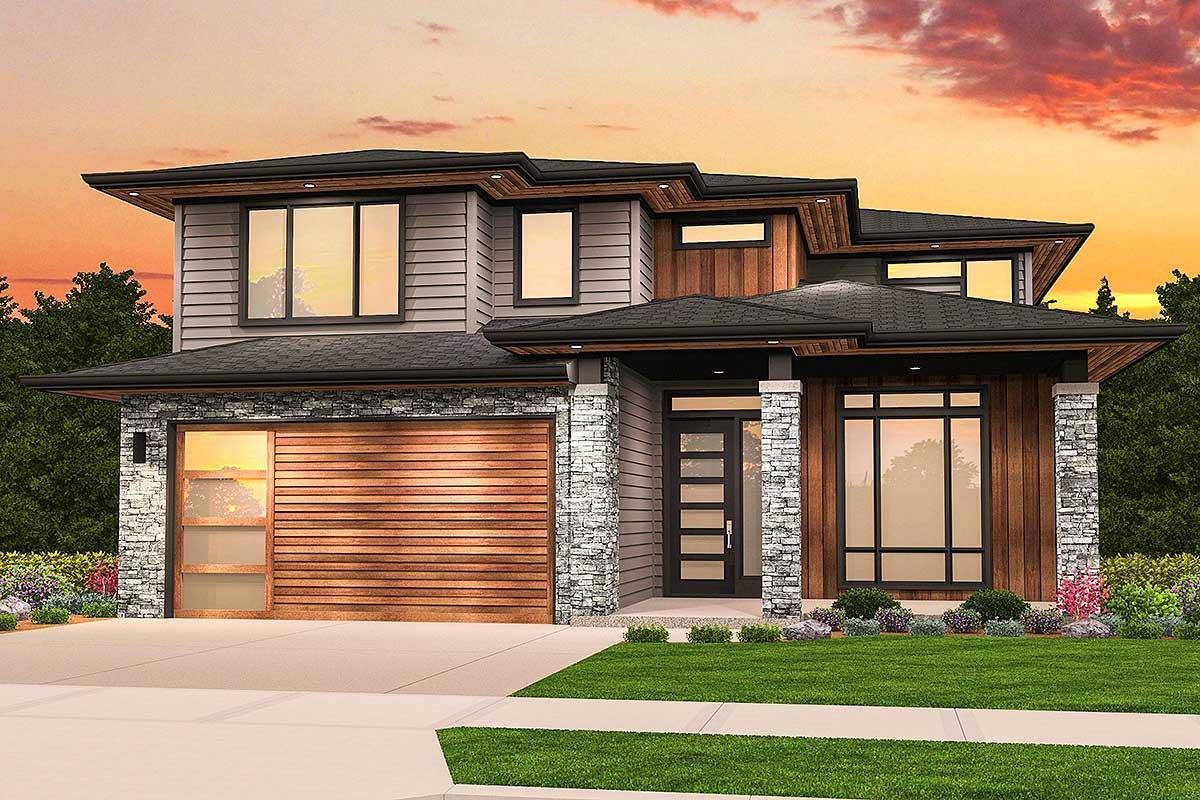 2 Story Prairie Style House Plans
