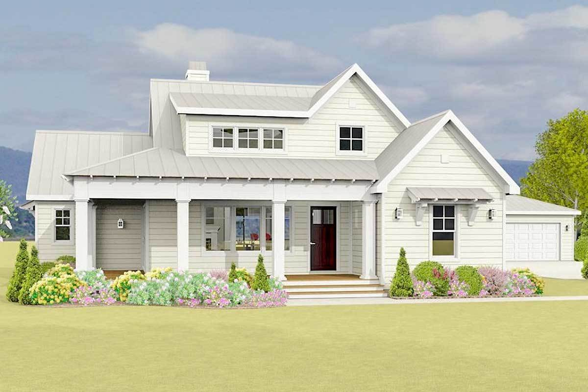 Country Farmhouse Plan With Detached Garage - 28919jj