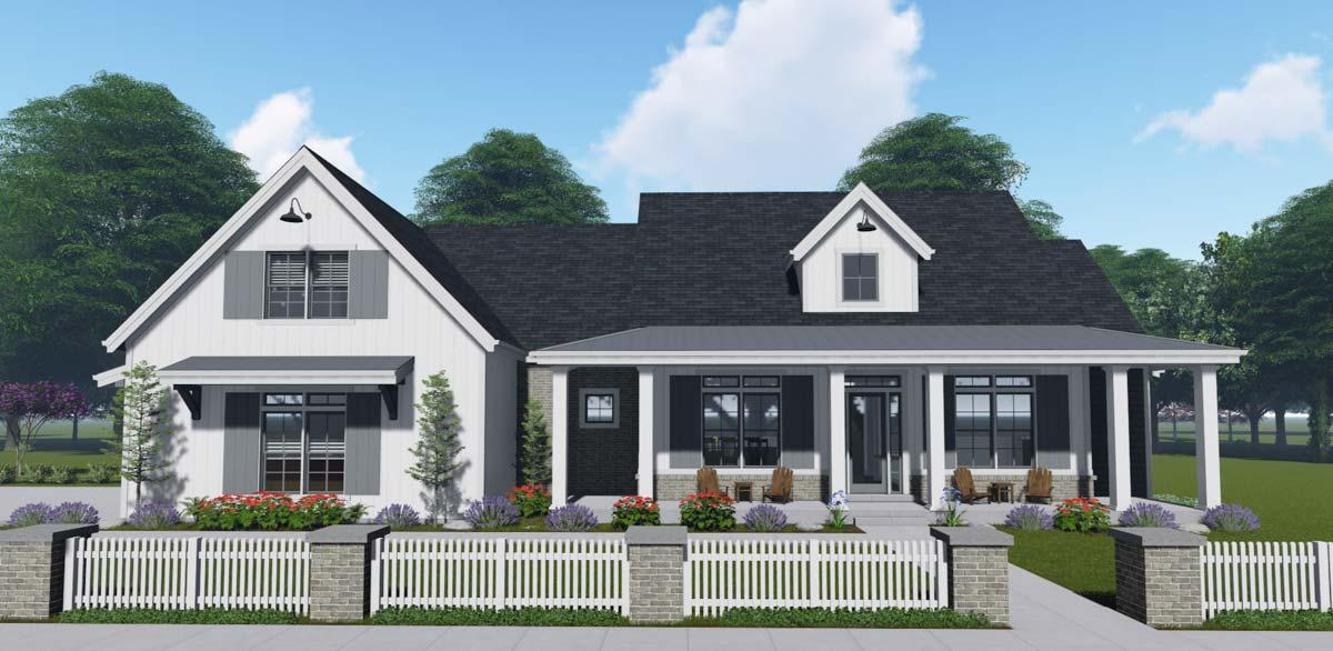 Flexible Modern Farmhouse With Split Bedrooms 64462sc