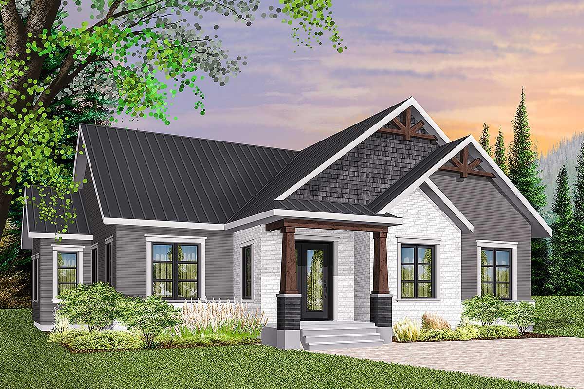 3-bed Modern Craftsman Ranch Home Plan - 22475dr