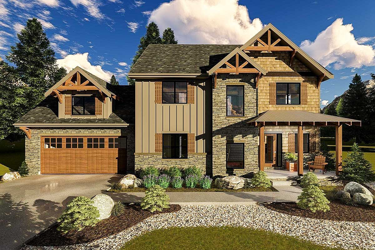 Mountain Rustic House Plan With 3 Upstairs Bedrooms
