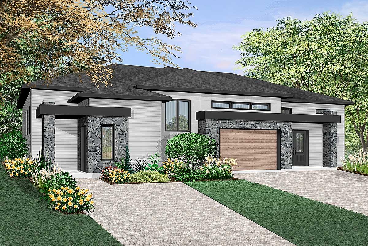 Contemporary Duplex - 22483dr Architectural Design