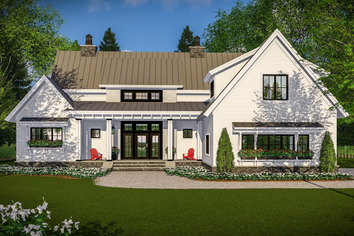 Modern Farmhouse With Vaulted Master Suite - 14661rk