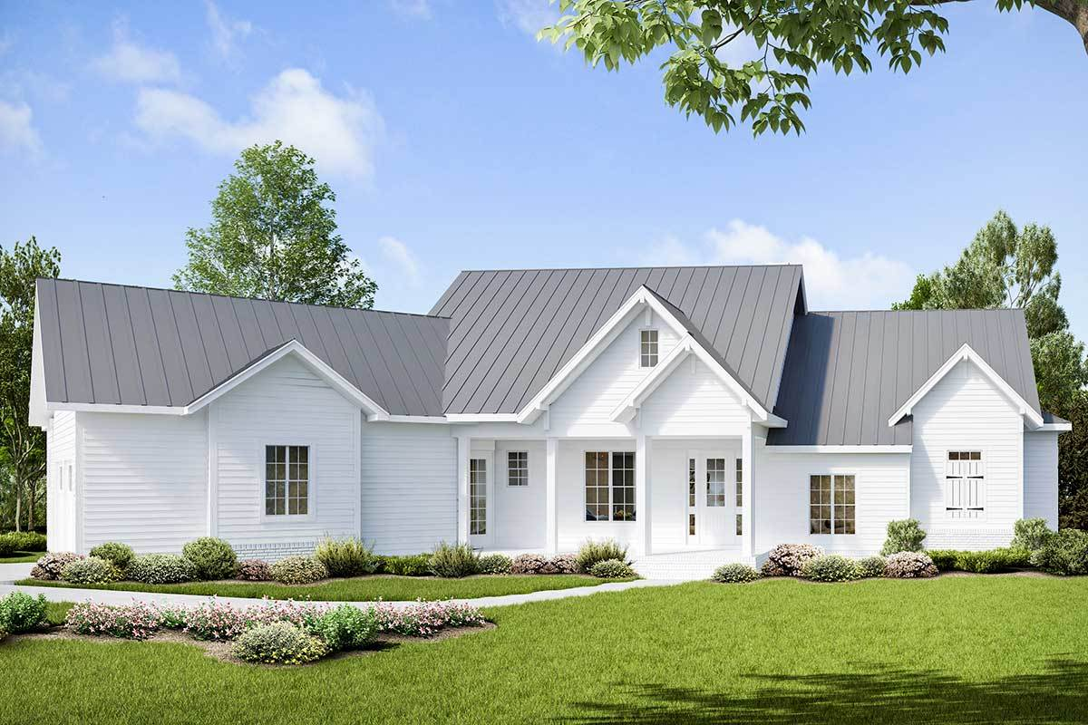 3-bed Modern Craftsman House Plan With Angled Garage