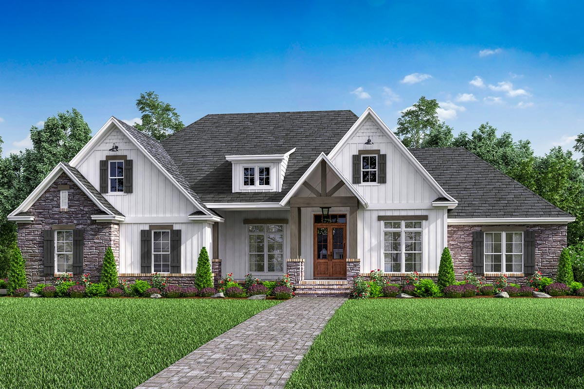 Open-concept 4-bed Craftsman Home Plan With Bonus Over