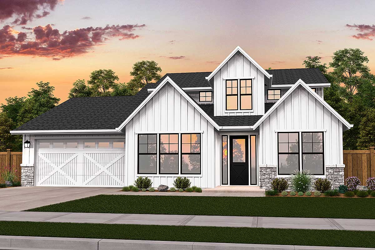 Exclusive Modern Farmhouse Plan With Master Main