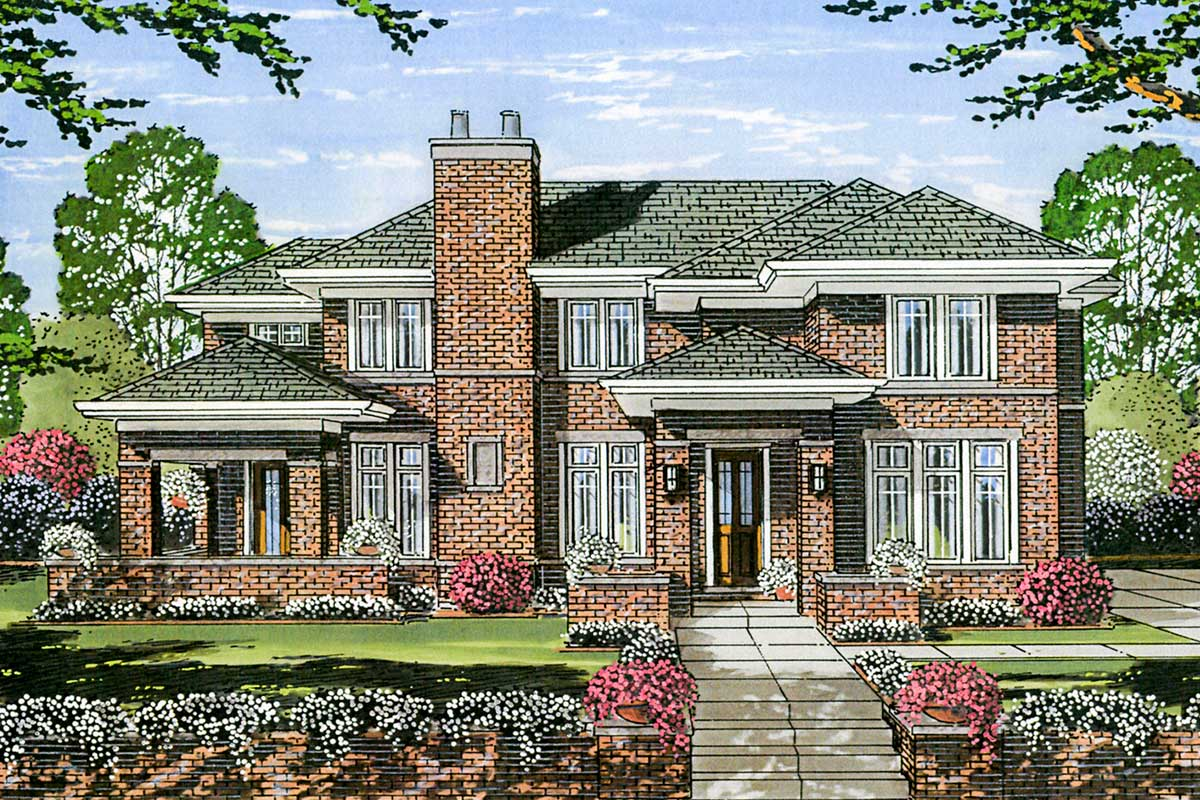 Two-story Prairie Style House Plan - 39273st