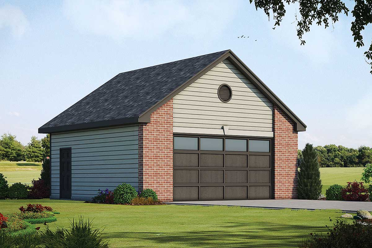 Simple One-Story Detached Garage Plan