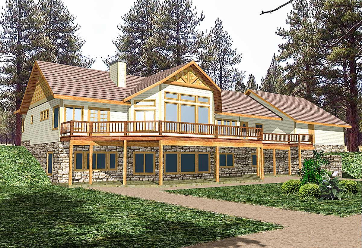Mountain House Plan Sloping Lot - 35098gh