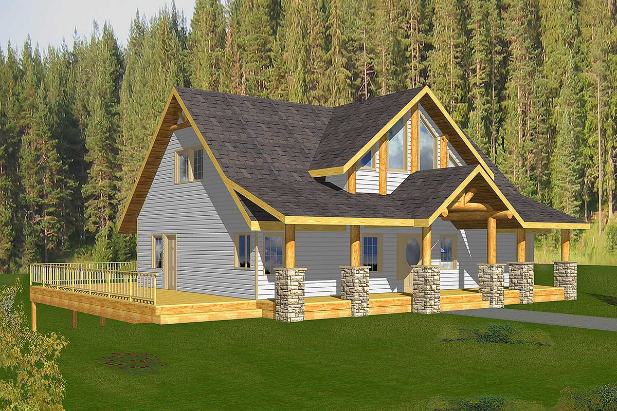 Mountain Home Plan with DriveUnder Garage  35313GH