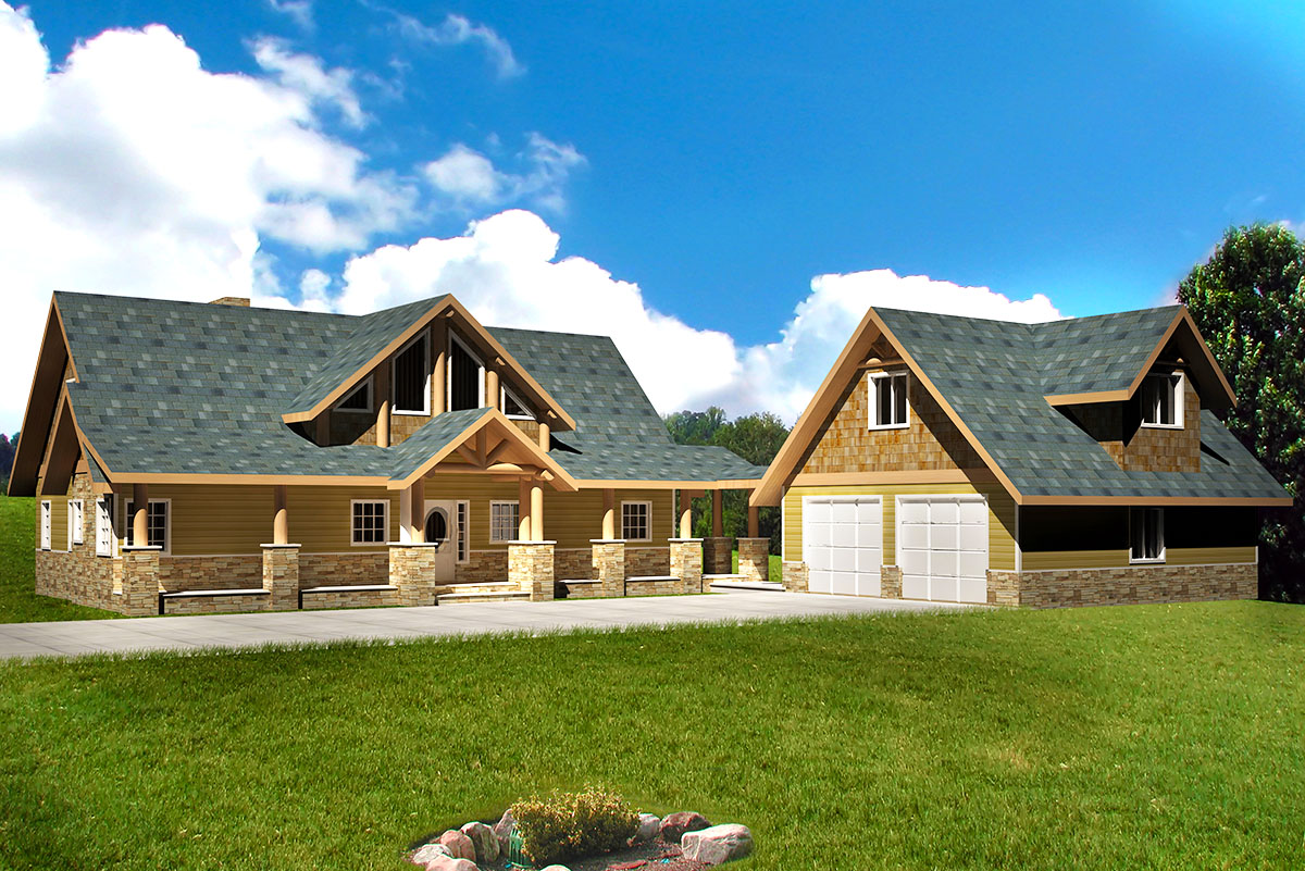 Mountain Lodge Home - 35502gh Architectural Design