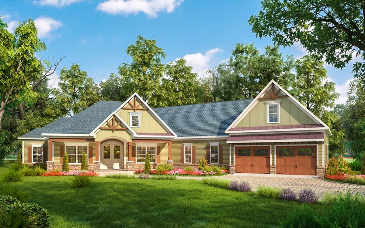 Craftsman House Plan with Angled Garage  36032DK  Architectural Designs  House Plans