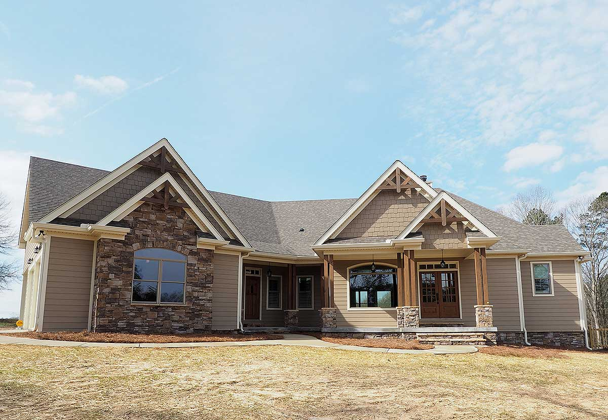 Angled Craftsman Home Plan With Outdoor Spaces - 36043dk