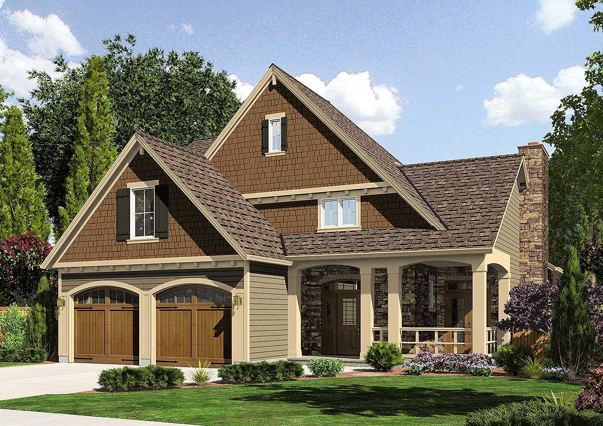L-shaped Country House Plans with Porches