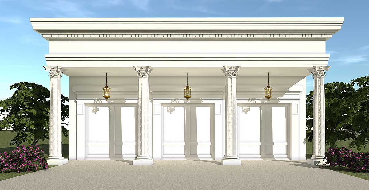 Greek Revival Garage  44053TD  Architectural Designs