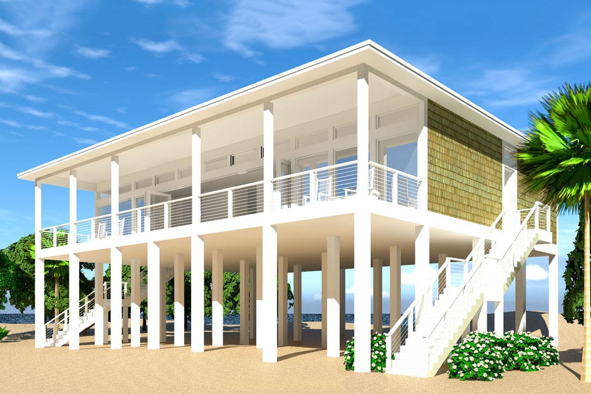 Modern Piling Loft Style Beach Home Plan 44073td