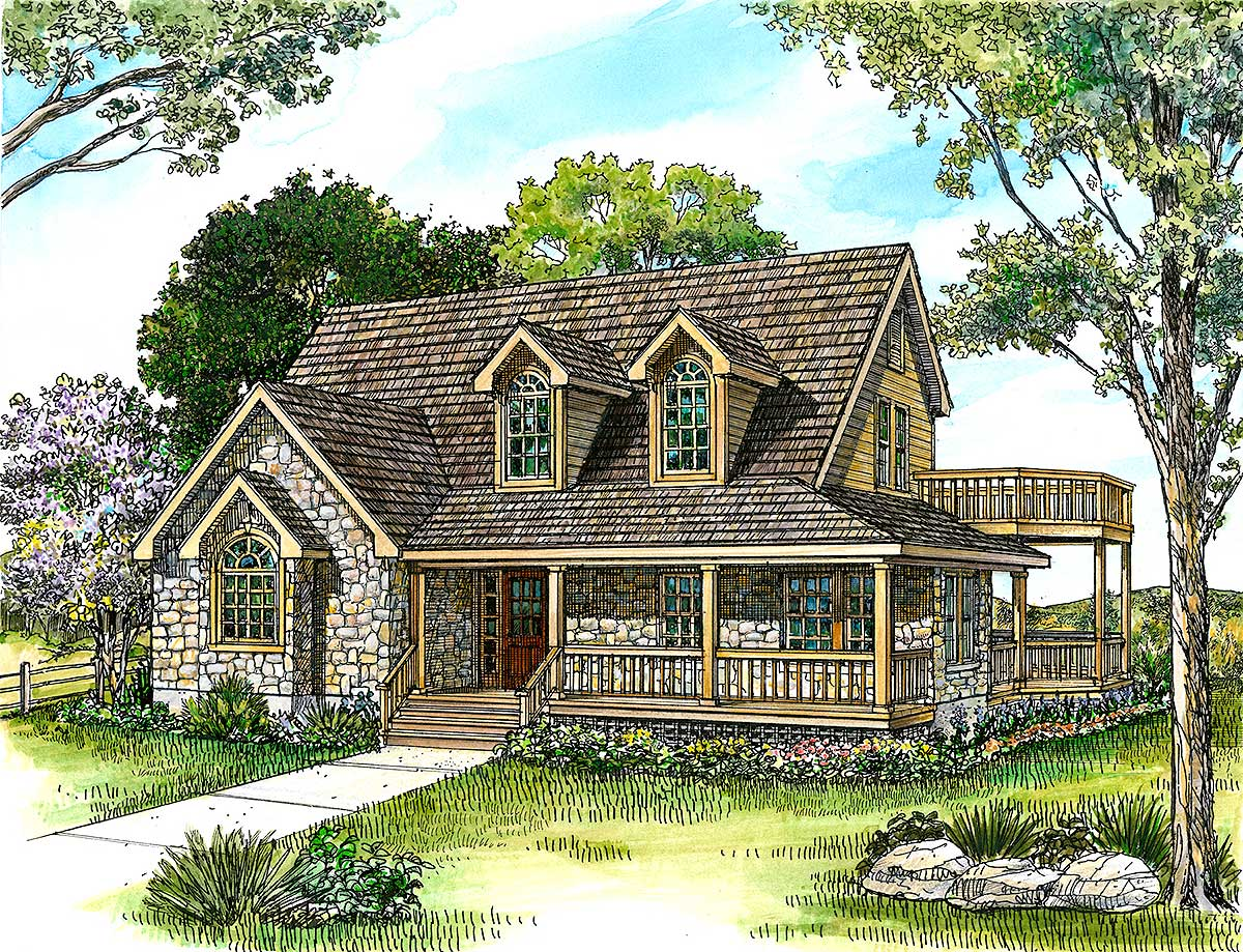 Country Stone Cottage Home Plan 46036HC Architectural Designs House Plans