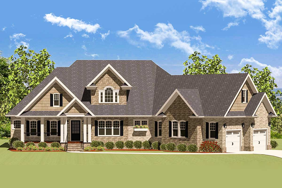 Craftsman House Plans with Angled Garage