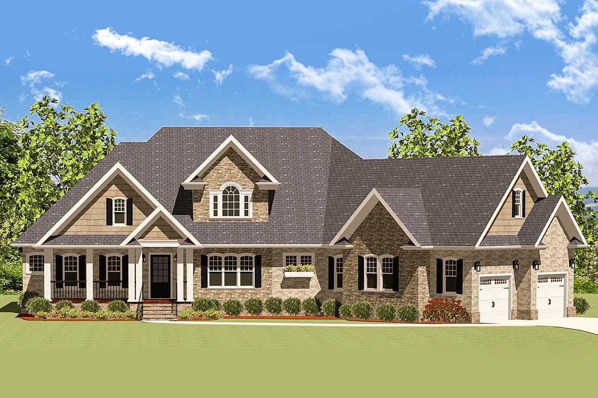 Handsome Craftsman Home With Angled Garage - 46224la