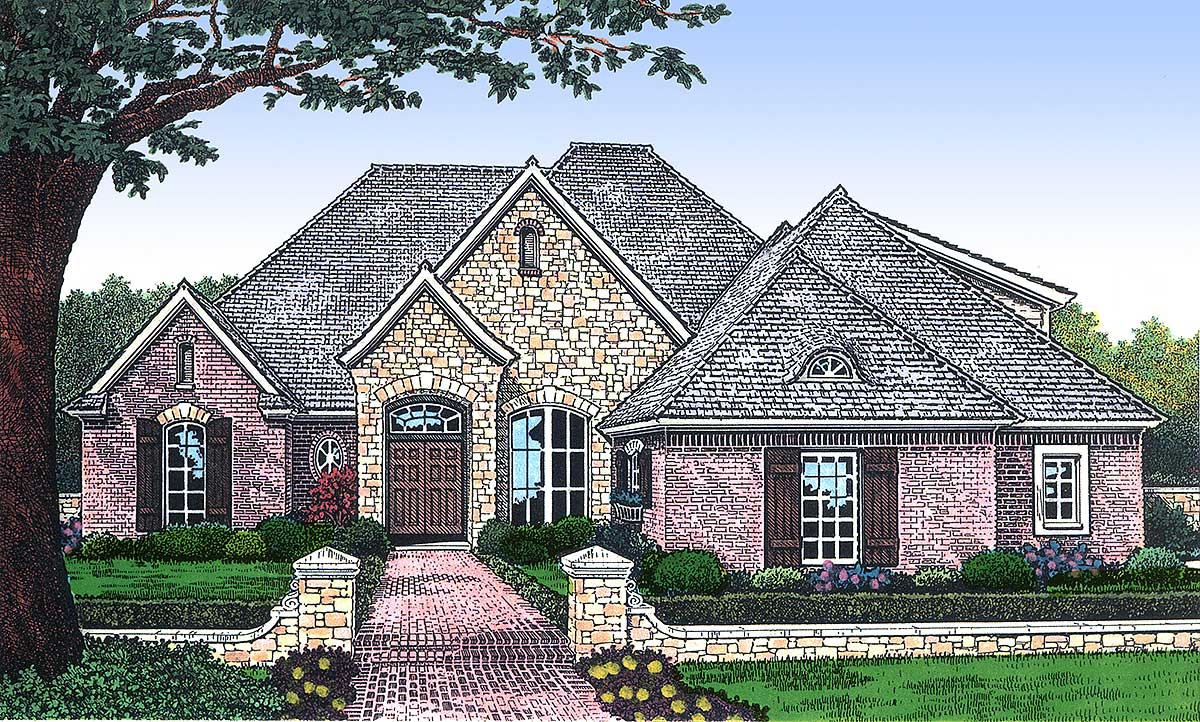 Brick And Stone Accents 48056fm Architectural Designs House Plans