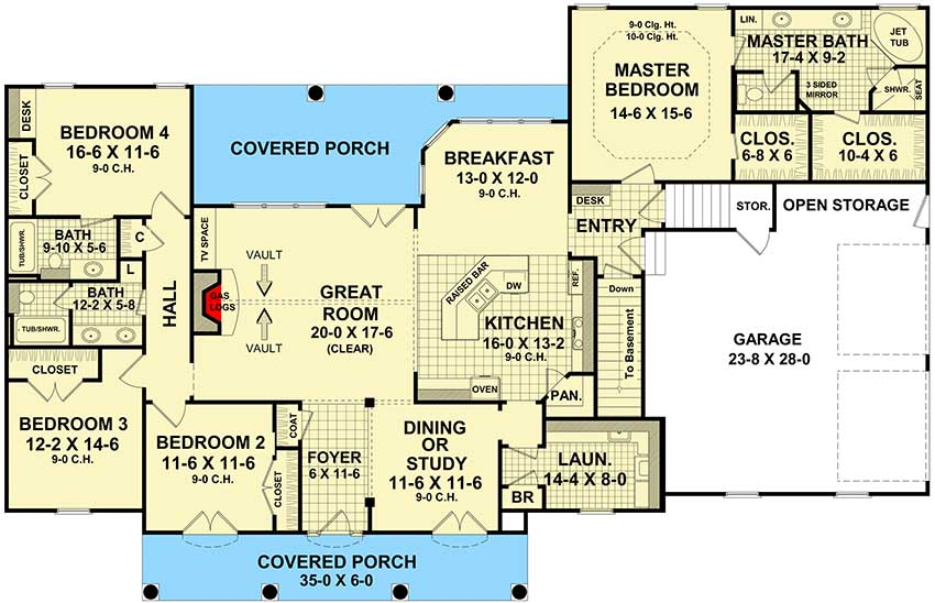 Four Bedroom Split-Bedroom House Plan