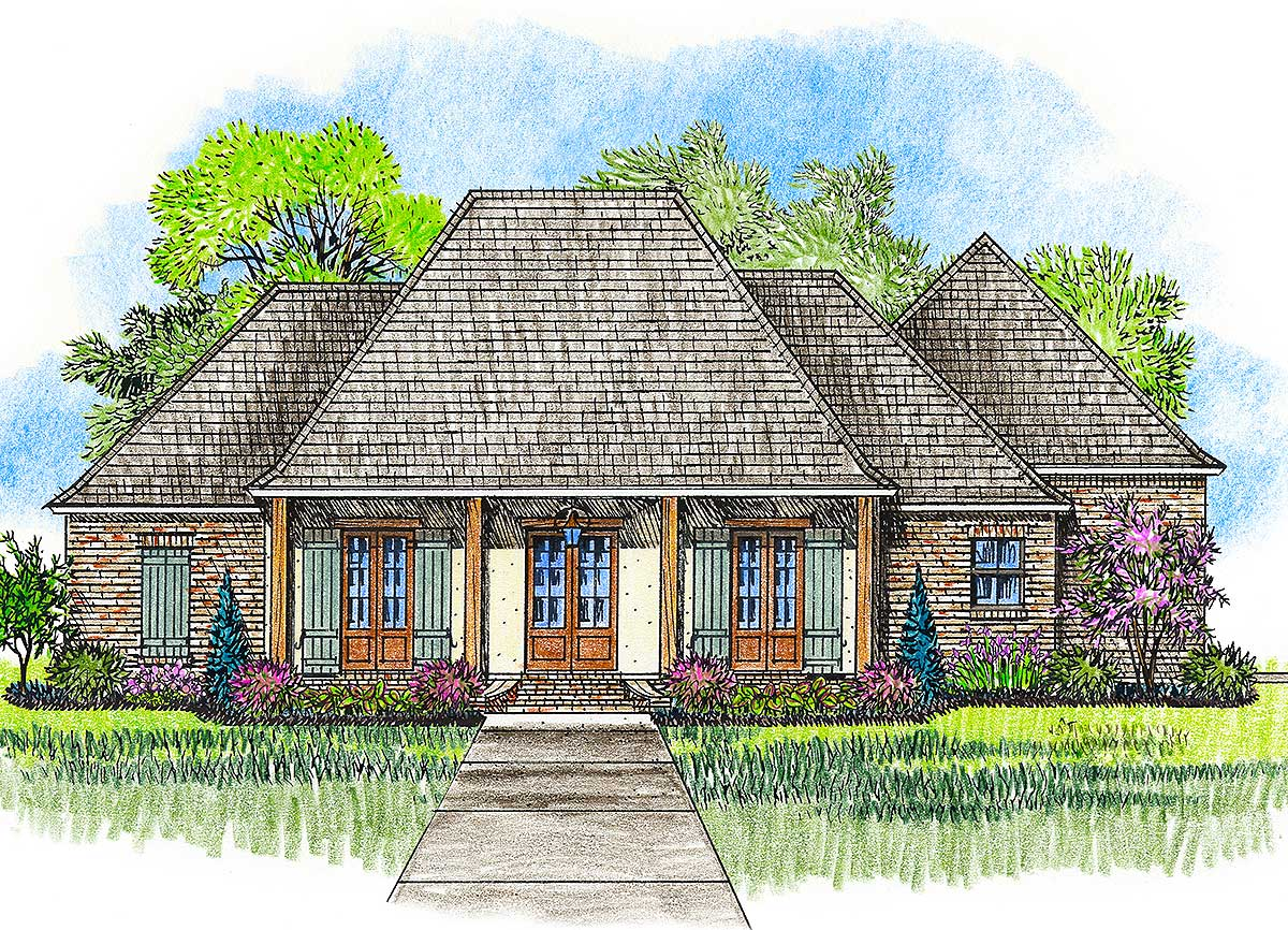 Acadian House Plan With Great Rear Porch 56379sm