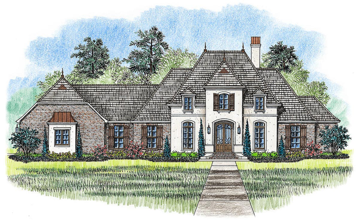 4 Bed French Country Home Plan - 56390SM
